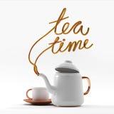Teezeitzitat mit der Teekanne und Schale 3D, die Illustration 3D übertragen stockfotos