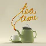 Teezeitzitat mit Teekannen- und Schalen3d Wiedergabe Stockfoto