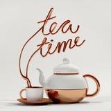 Teezeitzitat mit Teekannen- und Schalen3d Wiedergabe Stockbilder
