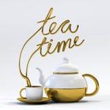 Teezeitzitat mit Teekannen- und Schalen3d Wiedergabe Stockbild