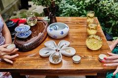 Teezeremonie in Chengdu Sichuan China Lizenzfreies Stockbild