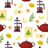 Teezeremonie - Teekanne, Franzosepresse, Schale, Zitrone, Teeblatt Flache Vektorillustration - nahtloses Muster Lizenzfreie Stockbilder