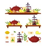 Teezeremonie - Teekanne, Franzosepresse, Zitrone, Schale, Zitrone, Süßigkeit Flache Vektorikonenillustration, Zusammenstellungssa Stockfoto