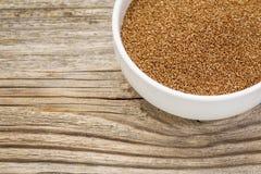 Teff grain in bowl Royalty Free Stock Image