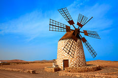 Tefia windmill Fuerteventura at Canary Islands Stock Photos