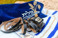 Tefillin and Tallit. Jewish and Judaism symbols in Israel royalty free stock image