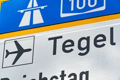 Highway and Tegel sign posts, Berlin stock photography