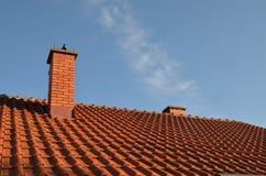 Tegel en schoorsteen stock afbeelding
