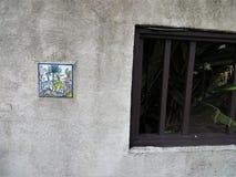 Tegel op gipspleistermuur, Heilige Augustine, Florida stock foto's