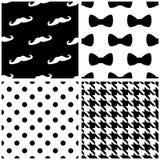 Tegel vectordiepatroon met zwart-witte punten, bogen wordt geplaatst, houndstooth patroon Royalty-vrije Stock Foto