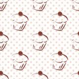 Tegel vectorpatroon met kers cupcakes en roze stippen op witte achtergrond stock illustratie