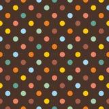 Tegel vectorpatroon met kleurrijke stippen op donkere bruine achtergrond royalty-vrije illustratie