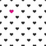 Tegel vectorpatroon met roze en zwarte harten op witte achtergrond vector illustratie