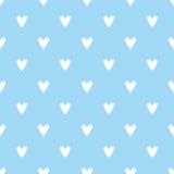 Tegel vectorpatroon met witte harten op blauwe achtergrond Royalty-vrije Stock Foto's