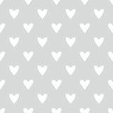 Tegel vectorpatroon met witte harten op grijze achtergrond stock illustratie