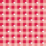 Tegel vectorpatroon met witte harten op rode en roze geruite achtergrond Stock Foto