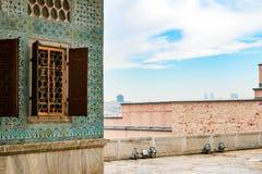 Tegelpatroon van het Paleis Topkapı in Istanboel, Turkije Stock Fotografie