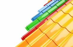 Tegelplatta för färgmetalltak Arkivfoton