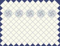 Tegelplatta för kökfrikändblått med prydnaden arkivbild