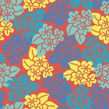 Tegelplatta för modell för röd gul blå hibiskushand utdragen stock illustrationer