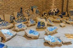 Tegelplattagarneringar som är skadade vid jordskalvet 1779 Blå moské för inre i Tabriz Östligt Azerbajdzjan landskap iran royaltyfri bild