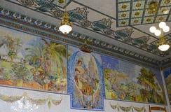 Tegelplattamosaikbild i den norr stationen, Valencia, Spanien Arkivfoto