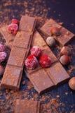 Tegelplattor av en bruten mörk choklad med Strapberries, Haselnuts, kakaopulver på Darck bakgrund för recepten fotografering för bildbyråer