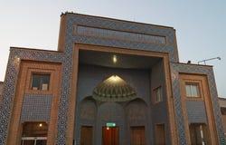 Tegelplattorna av den blåa moskén i Qom, Iran royaltyfri fotografi