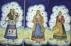 Tegels die Siciliaanse vrouwen afschilderen Stock Afbeelding