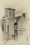 Tegelsten byggd herrgårdtappningeffekt Royaltyfri Bild