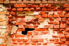 tegelsten förstörde den gammala väggen Royaltyfria Foton