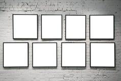 tegelsten inramniner väggwhite Arkivbild