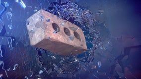 Tegelsten med brutet exponeringsglas Arkivfoton