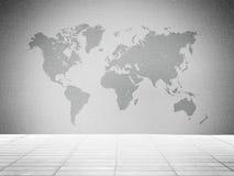 Tegelsten med världskartabakgrund Arkivbilder
