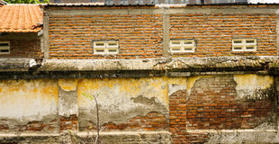 Tegelsten texturerade väggfotoet som togs i Semarang Indonesien Fotografering för Bildbyråer