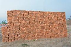 Tegelstenar blockerar i konstruktionsplats Arkivbilder