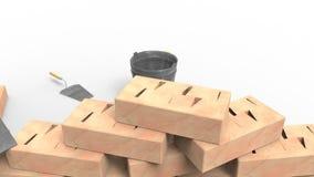 Tegelstenar hink och murslev stock video