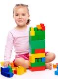 tegelstenar som bygger flickan little Royaltyfri Bild