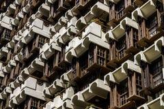 tegelstenar som bygger gammal red för facade Arkivbilder