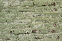 Tegelstenar som målas i bakgrund för grön färg Arkivbild