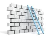 Tegelstenblockvägg och stege över en white Royaltyfri Fotografi