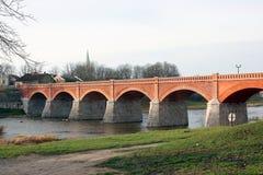 Tegelstenbron av Kuldiga Royaltyfria Foton