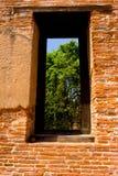 Tegelstenfönster. Arkivbilder