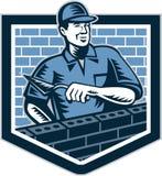 Tegelstenlager Mason Masonry Worker Retro royaltyfri illustrationer