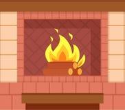 Tegelstenspis, träjournaler, ljus brinnande brand royaltyfri illustrationer