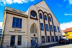 Tegelstentre-berättelse hus i mitten, Stavanger Royaltyfria Bilder