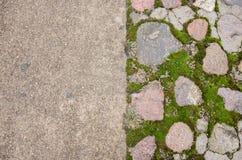 Tegelstentrottoarkvarter lappad trottoar Grön mossa på den gamla stenvandringsledet Vägtrottoar, gräsgräsplan Mossa som försöker  Arkivfoto