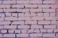 Tegelstenvägg av byggnaden som målas i rosa färger över blått royaltyfri foto