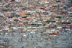 Tegelstenvägg av kulöra tegelstenar och cement Arkivbilder