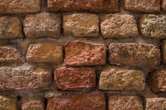Tegelstenvägg av röd tegelsten Gammalt murverk för röd tegelsten Royaltyfri Bild